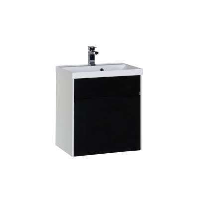 Тумба с раковиной Aquanet Латина 60 черный (1 ящик)